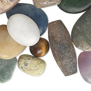 bead and component mix, multi-gemstone (natural / dyed / manmade) and glass, mixed colors, 10mm-58x34mm mixed shape. sold per pkg of 1 pound, approximately 50-70 beads.