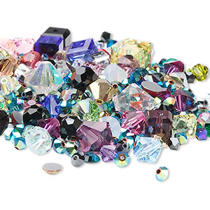 bead and component mix, swarovski crystals, mixed colors, 3mm-15x6mm mixed shape. sold per 25-gram pkg, approximately 40-95 pieces.