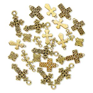 bead and drop, antique gold-finished pewter (zinc-based alloy), 12x9mm-26x17mm single- and double-sided assorted cross. sold per pkg of 25.