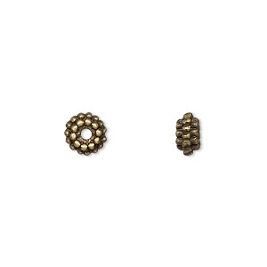 bead, antique brass-finished pewter (zinc-based alloy), 7x3mm double dot rondelle. sold per pkg of 24.