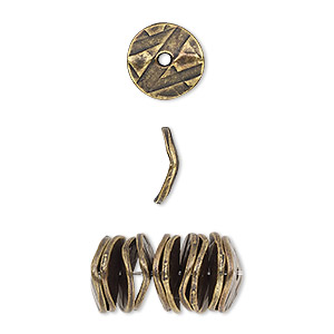 bead, antique brass-plated pewter (tin-based alloy), 10x2mm textured wavy rondelle with abstract design. sold per pkg of 10.