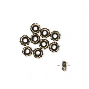 bead, antique brass-plated pewter (tin-based alloy), 5x3mm rondelle. sold per pkg of 10.