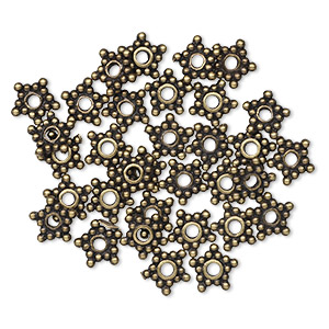 bead, antique brass-plated pewter (tin-based alloy), 7x1mm star rondelle. sold per pkg of 30.