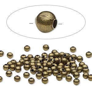 bead, antique brass-plated steel, 3mm round. sold per pkg of 500.