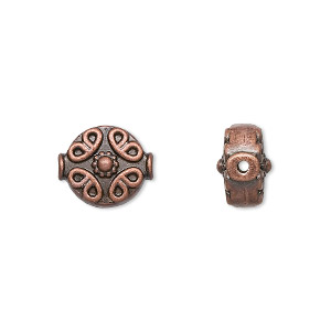 bead, antique copper-finished pewter (zinc-based alloy), 10mm filigree flat round. sold per pkg of 10.