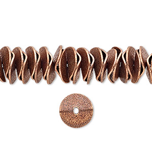 bead, antique copper-plated brass, 10x2.5mm textured wavy rondelle. sold per pkg of 30.