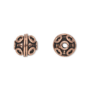 bead, antique copper-plated copper, 10mm round with circle and line pattern. sold per pkg of 8.