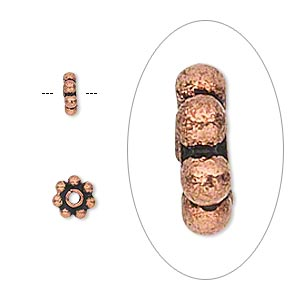 bead, antique copper-plated copper, 6x2mm beaded rondelle. sold per pkg of 40.