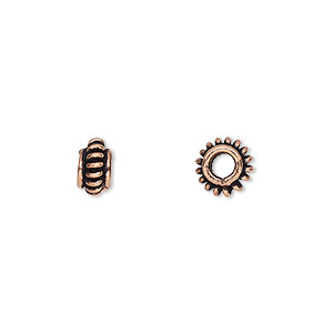 bead, antique copper-plated copper, 8x4mm rondelle with rope pattern and 2.7mm hole. sold per pkg of 16.