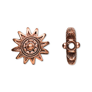 bead, antique copper-plated pewter (tin-based alloy), 17mm sun design. sold per pkg of 2.