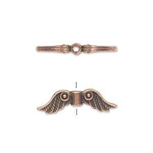 bead, antique copper-plated pewter (zinc-based alloy), 23x6mm double-sided angel wings. sold per pkg of 500.