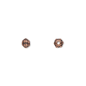 bead, antique copper-plated pewter (zinc-based alloy), 5x4mm beaded rondelle. sold per pkg of 100.