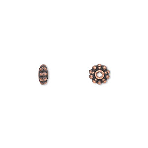 bead, antique copper-plated pewter (zinc-based alloy), 6x3mm double-sided rondelle. sold per pkg of 100.