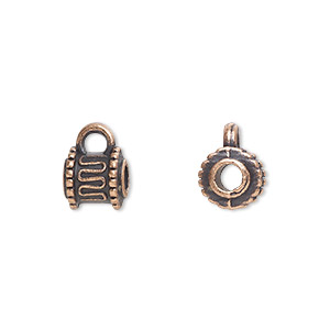 bead, antique copper-plated pewter (zinc-based alloy), 7x6mm cylinder with loop, 3mm hole. sold per pkg of 20.