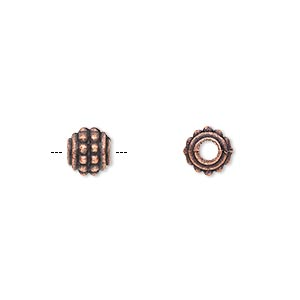 bead, antique copper-plated pewter (zinc-based alloy), 7x6mm rondelle. sold per pkg of 500.