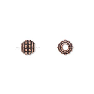 bead, antique copper-plated pewter (zinc-based alloy), 7x6mm rondelle. sold per pkg of 50.