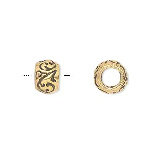 bead, antique gold-finished brass, 10x7mm rondelle with swirl design, 5mm hole. sold per pkg of 2.