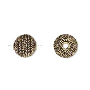 bead, antique gold-finished brass, 12mm textured round, 2.5mm hole. sold per pkg of 2.