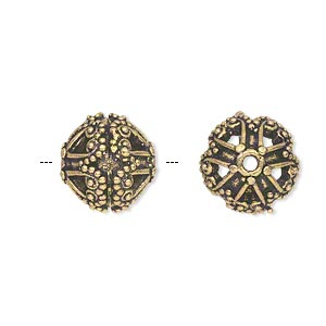 bead, antique gold-finished brass, 13mm filigree round with dots and swirls. sold individually.