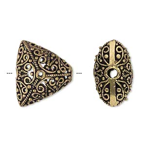 bead, antique gold-finished brass, 20x18x18mm filigree puffed triangle, 2.5mm hole. sold per pkg of 2.