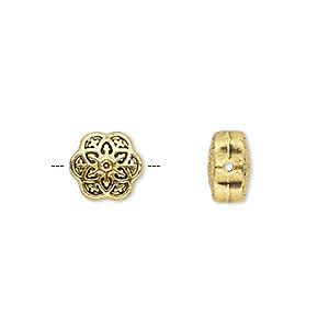bead, antique gold-finished pewter (zinc-based alloy), 10x10mm double-sided flower. sold per pkg of 10.