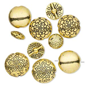bead, antique gold-finished pewter (zinc-based alloy), 12-19mm double-sided puffed round with assorted designs. sold per pkg of 10.