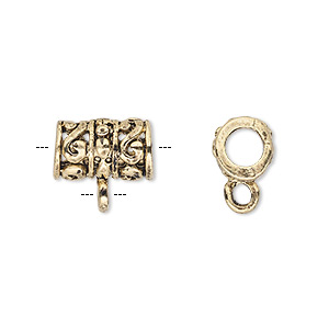 bead, antique gold-finished pewter (zinc-based alloy), 13x9mm filigree tube with loop, 4.5mm hole. sold per pkg of 6.