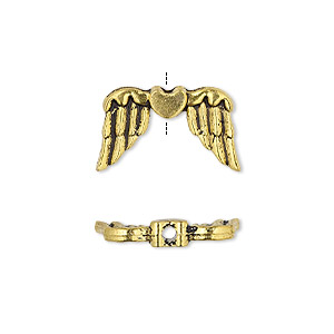 bead, antique gold-finished pewter (zinc-based alloy), 19x11mm double-sided wing with heart. sold per pkg of 10.