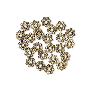 bead, antique gold-finished pewter (zinc-based alloy), 5x2mm beaded rondelle with dots. sold per pkg of 24.