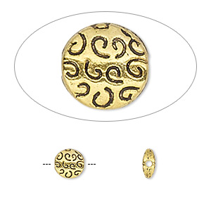 bead, antique gold-finished pewter (zinc-based alloy), 6.5mm double-sided flat round with swirls. sold per pkg of 10.