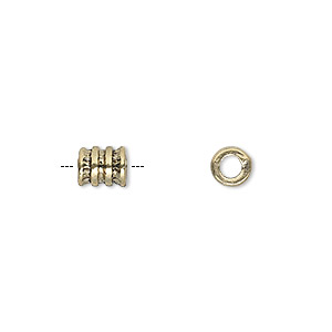 bead, antique gold-finished pewter (zinc-based alloy), 6x5mm ribbed round tube with 3mm hole. sold per pkg of 20.