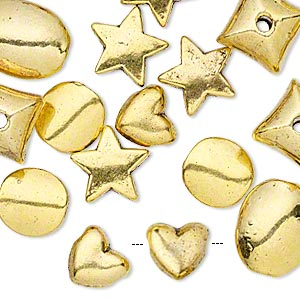 bead, antique gold-finished pewter (zinc-based alloy), 8x9mm-14x11mm assorted shapes. sold per pkg of 25.