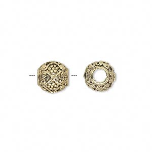 bead, antique gold-finished pewter (zinc-based alloy), 9mm fancy round with 3mm hole. sold per pkg of 10.