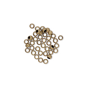 bead, antique gold-plated brass, 2.5mm micro round. sold per pkg of 500.