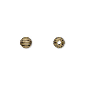 bead, antique gold-plated brass, 6mm corrugated round. sold per pkg of 100.