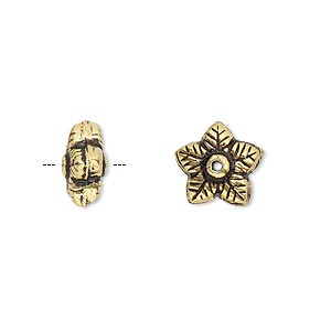 bead, antique gold-plated copper, 11x6mm flower rondelle. sold per pkg of 12.