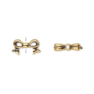 bead, antique gold-plated pewter (tin-based alloy), 13x7mm bow, fits 6x6mm cube bead. sold per pkg of 4.