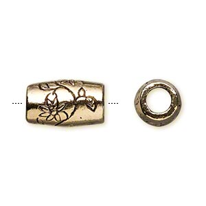 bead, antique gold-plated pewter (tin-based alloy), 16x10mm cylinder with flower. sold per pkg of 2.