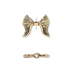 bead, antique gold-plated pewter (tin-based alloy), 16x14mm double-sided textured wing, fits 5.5mm bead. sold per pkg of 2.