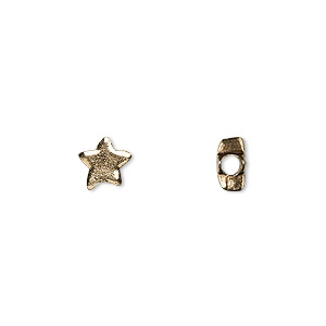 bead, antique gold-plated pewter (tin-based alloy), 7x6mm star. sold per pkg of 10.