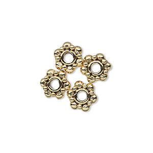 bead, antique gold-plated pewter (tin-based alloy), 8x4.5mm beaded rondelle, 2.5mm hole. sold per pkg of 4.