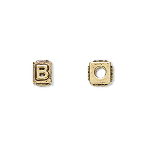 bead, antique gold-plated pewter (tin-based alloy), 8x6mm rectangle with alphabet letter b and 3mm hole. sold per pkg of 4.