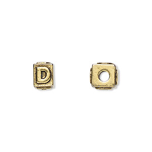 bead, antique gold-plated pewter (tin-based alloy), 8x6mm rectangle with alphabet letter d and 3mm hole. sold per pkg of 4.