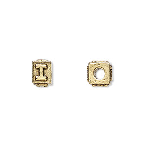 bead, antique gold-plated pewter (tin-based alloy), 8x6mm rectangle with alphabet letter i and 3mm hole. sold per pkg of 4.