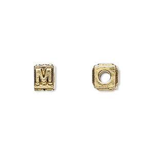 bead, antique gold-plated pewter (tin-based alloy), 8x6mm rectangle with alphabet letter m and 3mm hole. sold per pkg of 4.