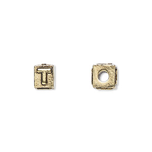 bead, antique gold-plated pewter (tin-based alloy), 8x6mm rectangle with alphabet letter t and 3mm hole. sold per pkg of 4.
