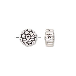 bead, antique silver-finished pewter (zinc-based alloy), 10mm double-sided bumpy flat round. sold per pkg of 10.
