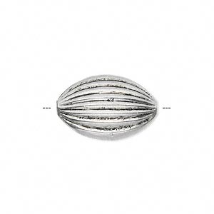 bead, antique silver-finished pewter (zinc-based alloy), 20x14mm fluted puffed oval. sold per pkg of 6.