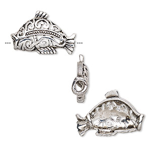 bead, antique silver-finished pewter (zinc-based alloy), 31x20mm single-sided hollow fish. sold per pkg of 4.