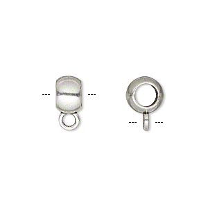 bead, antique silver-finished pewter (zinc-based alloy), 8x5mm rondelle with loop, 4.5mm hole. sold per pkg 10.
